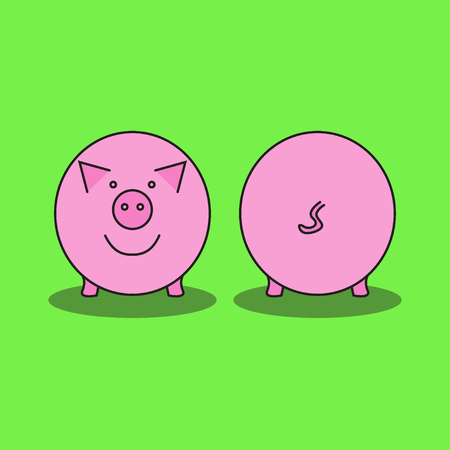 Pink pig. Front view and back view. Pig's snout and pig's tail. Vector illustration.