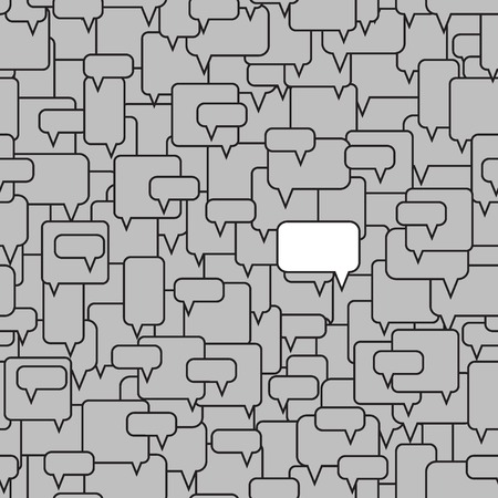 Different opinion in the crowd. Don't afraid to be different. Have another idea. Speech bubbles seamless pattern. White bubble among gray bubbles. Vector illustration.