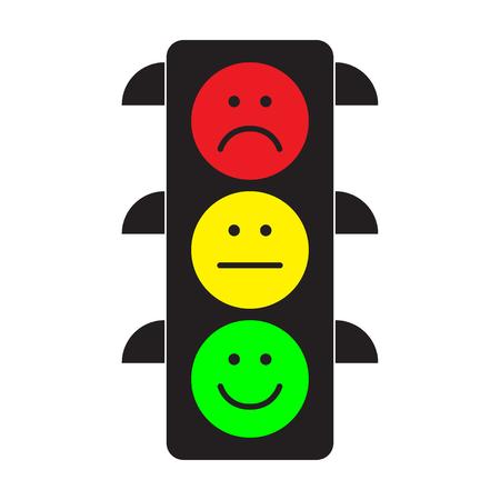 Feu de circulation avec des smileys rouges, jaunes et verts. Montant plat. Illustration vectorielle. Vecteurs