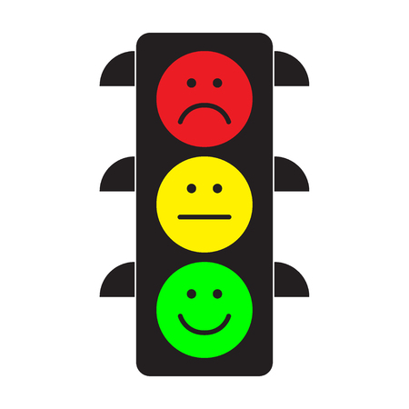 Traffic light with red, yellow and green smileys. Flat stile. Vector illustration.