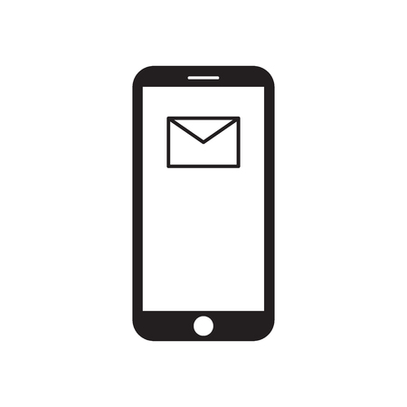 Smartphone with mail icon on the screen. Modern gadget. Mobile device. Mail/email icon. Envelope. Black and white vector illustration. Vecteurs