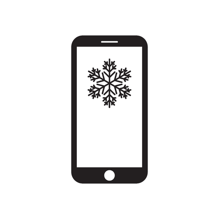 Smartphone with snowflake on the screen. Mobile device. Weather forecast. Winter message. Black and white vector illustration. Иллюстрация