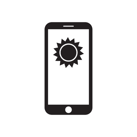 Smartphone with sun on the screen. Mobile device. Weather forecast. Sunny message. Black and white vector illustration.