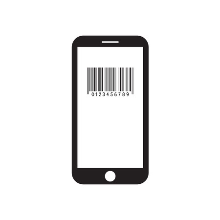 Smartphone with barcode icon on the screen. Mobile device. Black and white vector illustration.