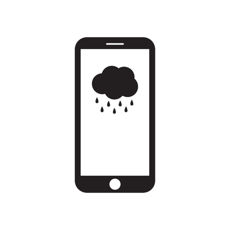 Smartphone with cloud and rain on the screen. Mobile device. Weather forecast. Rainy message. Black and white vector illustration.