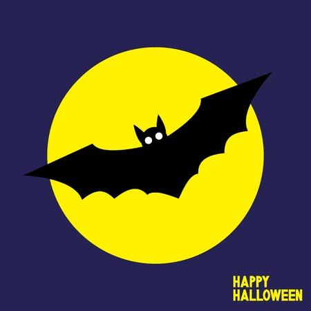 Happy Halloween card with flying bat. Vector illustration. Standard-Bild - 117370481