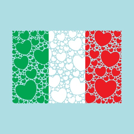 Flag of Italy made of hearts. Italian flag. Vector illustration.