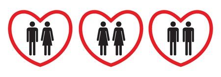 Icônes homosexuelles et d'amour. Style plat. Figures humaines noires et blanches dans des coeurs rouges. Illustration vectorielle.
