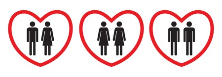 Homosexual and heterosexual love icons. Flat style. Black and white human figures in red hearts. Vector illustration.