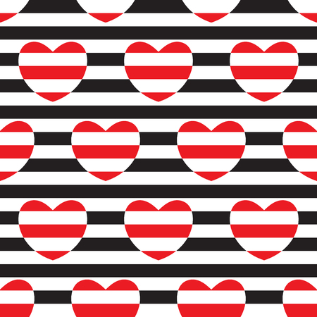 Striped seamless pattern with hearts. Vector illustration.