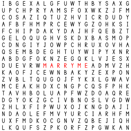 Marry me. Marriage proposal. Find the words in the word puzzle. Word game. Seamless pattern with letters. Vector illustration. 矢量图像