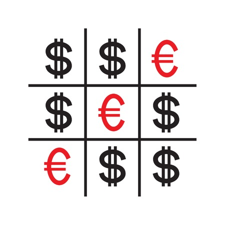 Tic-tac-toe money concept. Euros and dollars. Competition between currencies. Euros victory. Vector illustration.