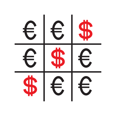 Tic-tac-toe money concept. Euros and dollars. Competition between currencies. Dollars victory. Vector illustration.