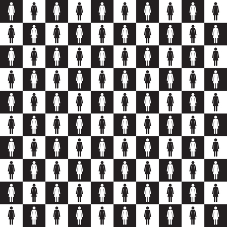 Seamless checkered pattern with female silhouette. Black an white. Vector illustration.
