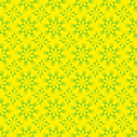 Seamless abstract geometrical yellow and green pattern with circles. Vector illustration.