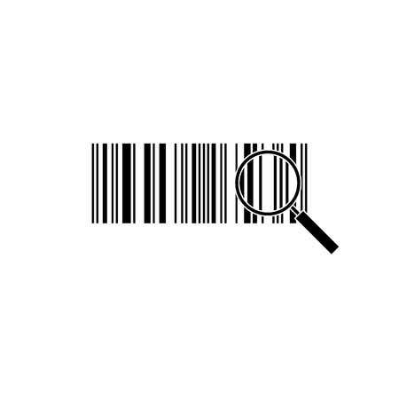 Bar code and magnifying glass. Zoom. Vector illustration.