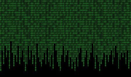 Wzór kodu binarnego. Tło komputerowe z 1 i numerami. Dane i technologia. Ilustracja wektorowa.