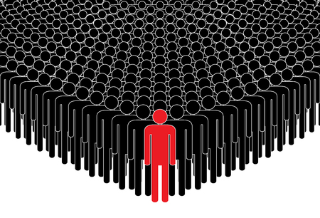 Leader and crowd. People standing in a crowd after the leader. Human silhouettes. Vector illustration. Vettoriali
