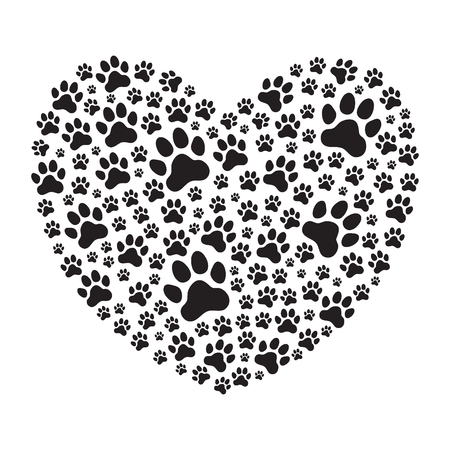 Heart filled with animals (dogs) paw prints. Love pets. Love animals. Vector illustration.