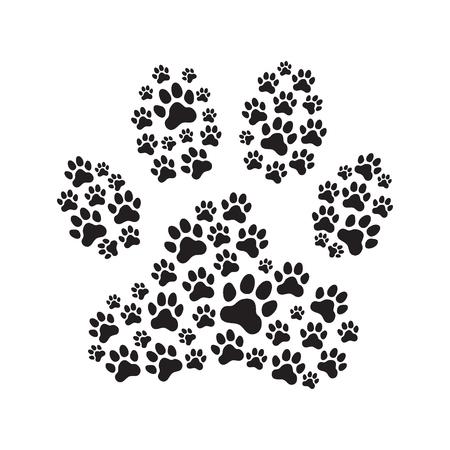 Paw print filled with paw prints. Animals (dogs) paw print. Vector illustration. Ilustração