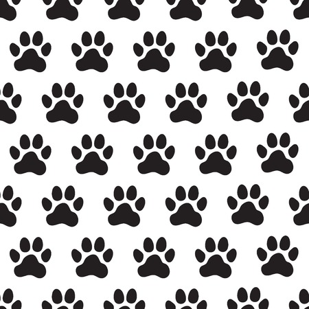 Paw prints seamless pattern. Animal's (dog's) paws. Vector illustration. Ilustração