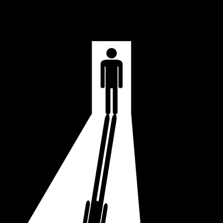 Man in the doorway going out of the darkness to the light. Direction to the exit or to the entrance. Vector illustration. Ilustração