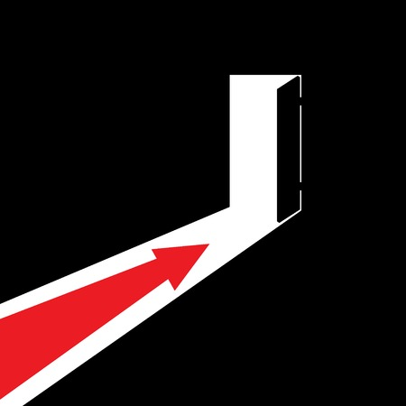 Arrow showing the direction to the open door. Direction to the exit or to the entrance. The way out of the darkness to the light. Vector illustration. Ilustração