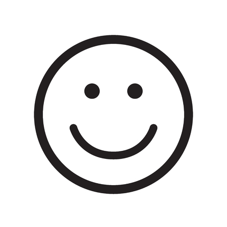 Smile icon. Happy face symbol. Flat style. Black and white vector illustration.