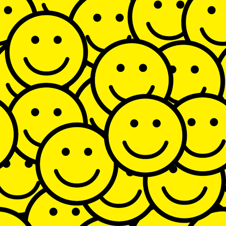 Seamless pattern with smile icons. Happy faces background. Vector illustration. Ilustração