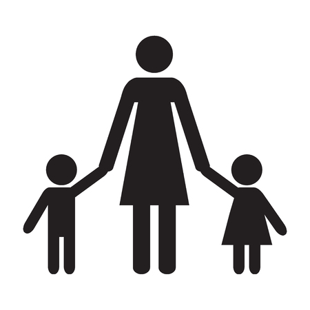 Mother and kids. Mother, son and daughter. Adult and children. Icon. Vector illustration. Çizim