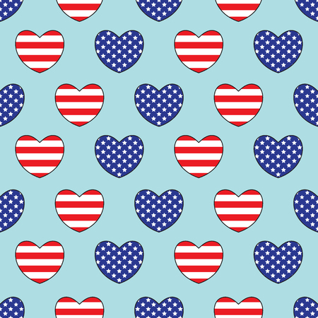 Hearts with United States of America flags colors. Seamless pattern. Love to USA. Vector illustration. Ilustração