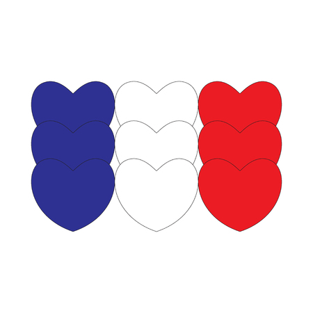 Flag of France made of hearts. French flag. Vector illustration.