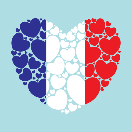 Flag of France in a heart shape filled with little hearts. French flag. Vector illustration.