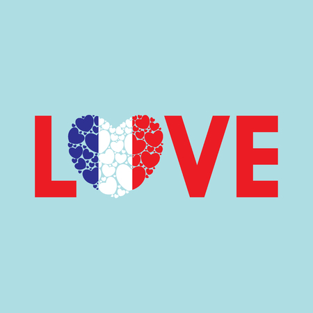 Word Love with French flag. Love to France. Heart made of little hearts. Vector illustration.