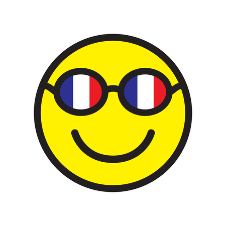 Smile icon with glasses of French flags colors. Vector illustration.