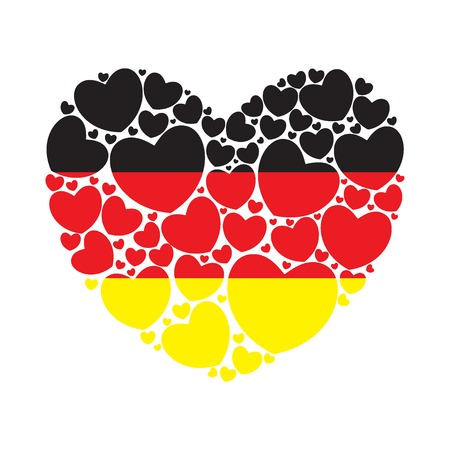 Flag of Germany in a heart shape filled with little hearts. German flag. Vector illustration.