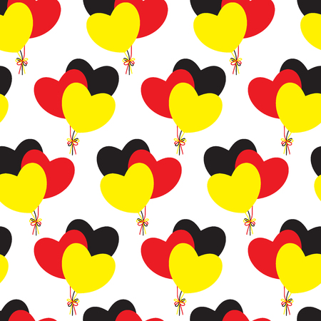 Hearts-balloons of German flags colors. Seamless pattern. Love to Germany. Vector illustration.