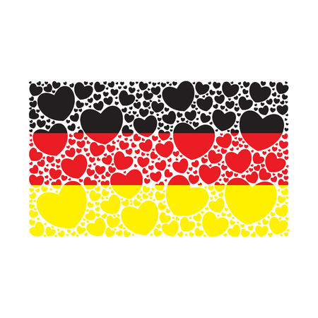 Flag of Germany made of hearts. German flag. Vector illustration.