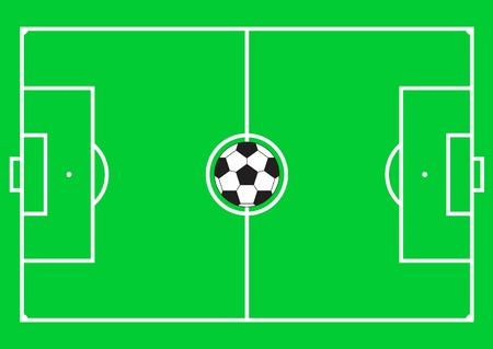 Football pitch (football field or soccer field) with football ball in the middle. Vector illustration.