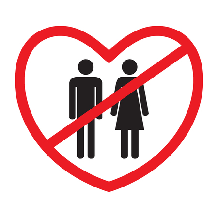 Anti-heterosexual icon. No love icon. Flat style. Black and white human figures in red crossed hearts. Vector illustration.