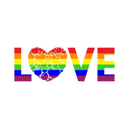 Word Love written in rainbow colors. Big heart filled with small hearts. Colors of the rainbow flag. LGBT love icon. Vector illustration.
