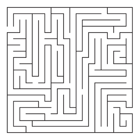 Labyrinth. Maze. Entrance and exit. Find the way. Black and white vector illustration. 向量圖像