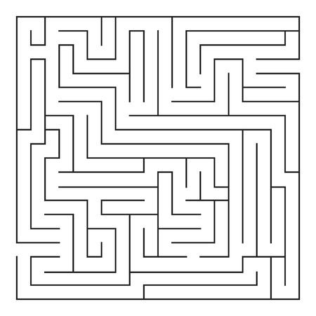 Labyrinth. Maze. Entrance and exit. Find the way. Black and white vector illustration. Ilustração