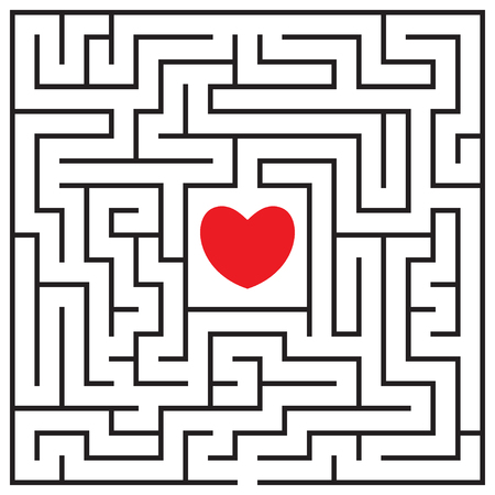Labyrinth with red heart. Find the way to the heart. Find your love. Happy Valentines day card. Vector illustration.