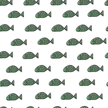 Swimming fishes. Marine seamless pattern. Vector illustration.