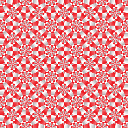 Seamless abstract geometrical red, white and gray pattern with circles. Vector illustration.