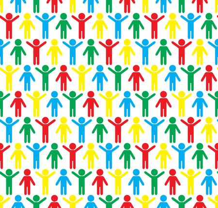 Human silhouettes seamless pattern. Hands up and down. Joyful gymnastics. Sport background. Colorful vector illustration. Ilustração