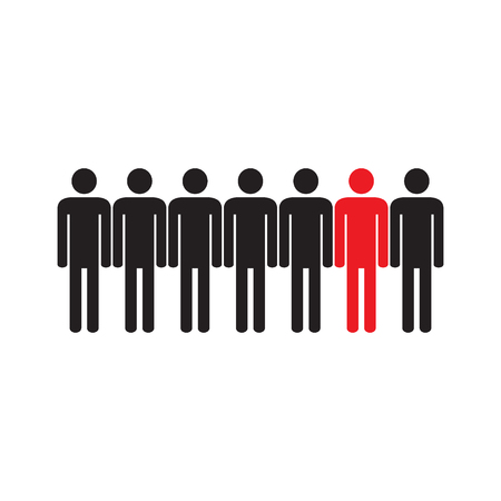 People are different. Icon. Human silhouettes. Black and red. Vector illustration.