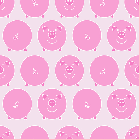 Pink pig. Front view and back view. Pigs snout and pigs tail. Seamless pattern. Vector illustration. Ilustração