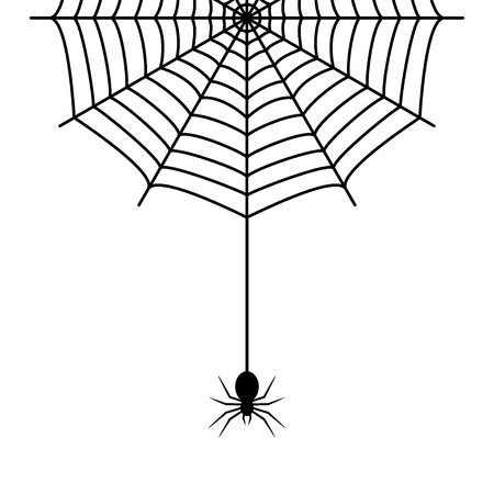Spider hanging on the cobweb thread. Vector illustration.